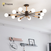 TRAZOS Nordic Wood Pendant Lamp Kitchen Dining room suspended luminaire indoor home LED tree branch Kids Bedroom light Fixtures 2018 new nordic art dining room lindsey pendant light simple restaurant cafe tree branch with g4 led bulbs light fixtures