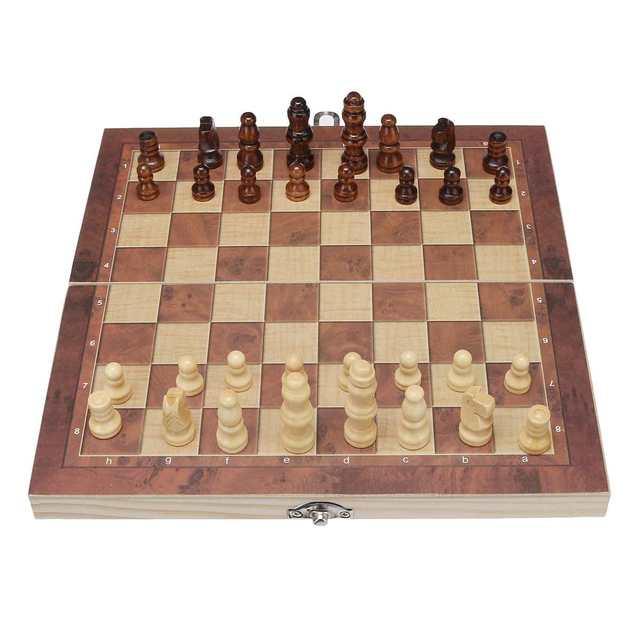 3 en 1 pliable en bois jeu d'échecs jeux de voyage échecs Backgammon dames jouet Chessmen divertissement jeu plateau jouets cadeau 3