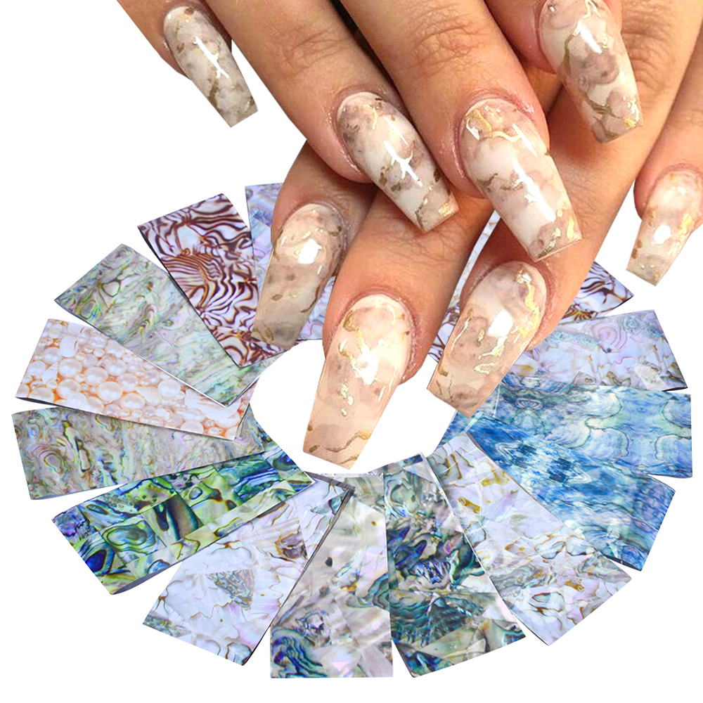 Decals Adhesive-Stickers Nail-Foils-Set Holographic Designs-Transfer Winter Wraps Marble