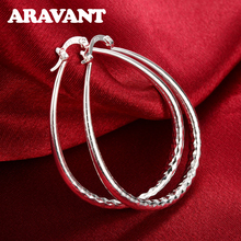 2019 New Arrival 925 Silver Color Large Circle Hoop Earrings For Women Wedding Luxury Plated Jewelry