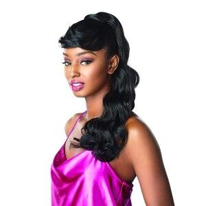 Длинные волнистые волосы конский хвост с челкой поддельные волосы булочка и челка комплект синтетический конский хвост парик для женщин за...
