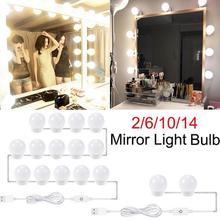 2/6/10/14 pcs LED איפור מראה אור הנורה Dimmable הוליווד יהירות אורות נקבה להתלבש מנורות צילום סטודיו אבזרים