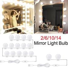 2/6/10/14 sztuk LED do makijażu światło lustrzane żarówki ściemniania Hollywood Vanity Lights damska sukienka Up lampy fotografia Studio akcesoria