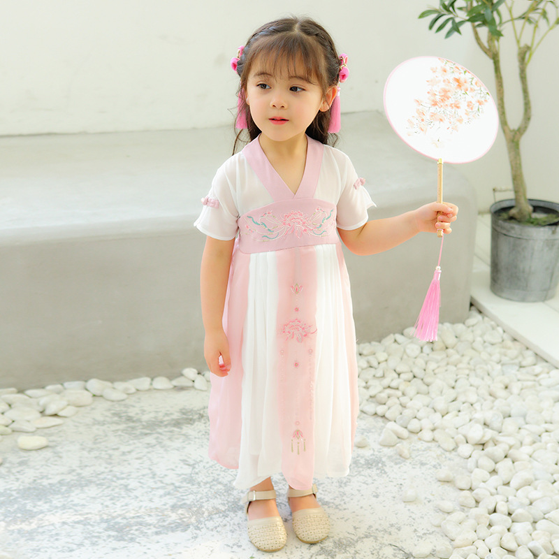Ancient Costume Chinese Clothing Girls Dress Summer Chinese-style Embroidered Short Sleeve Jacket Skirt Children Embroidery Chif