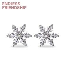 Endless Friendship Snow Silver Earrings for women Stud earrings Woman fashion jewelry Creative earring beauty girlfriend gift