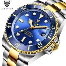 LIGE – montre-bracelet en acier inoxydable pour hommes, étanche 100ATM, mode, marque supérieure, automatique, mécanique, Tourbillon, horloge, 2020