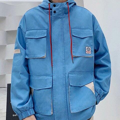 Autumn New Tooling Jacket Men Fashion Contrast Color Casual Multi-pocket Hooded Jacket Streetwear Hip Hop Loose Bomber Jacket Multan