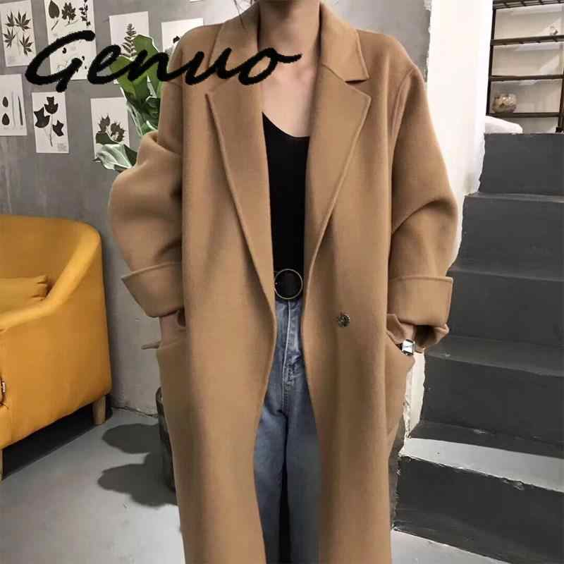 New 2019 Spring Fashion Loose Overcoat Casual Solid Long Woolen Coat Korean Style Oversize Turn-Down Collar Wool Coat Outwear