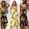 Boho Sexy Floral Dress Summer Vintage Casual Sundress Female Beach Dress Midi Button Backless Polka Dot Striped Women Dress2020  2