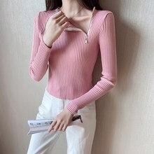 Ljsxls primavera moda zíper o pescoço camisola feminina outono sólido de malha pulôver feminino suéteres de malha feminina
