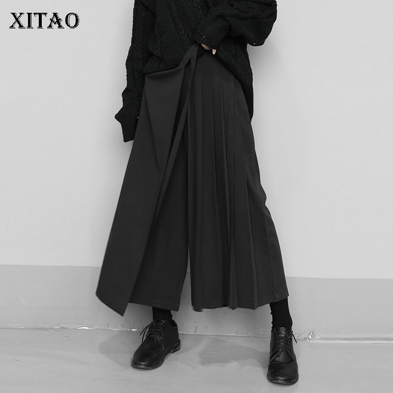 XITAO Irregular Elastic Waist Fake Two Pieces Wide Leg Pants Women 2020 Spring Tide Fashion Ankle Length Punk Style Loose XJ3346