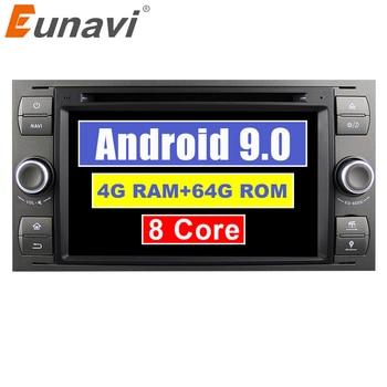 Автомагнитола Eunavi, 2 Din, Android 9, 4 ГБ, 64 ГБ, DVD для FORD S Max, Kuga Fusion, Transit Fiesta Focus 2 II, gps, автомагнитола, 7''
