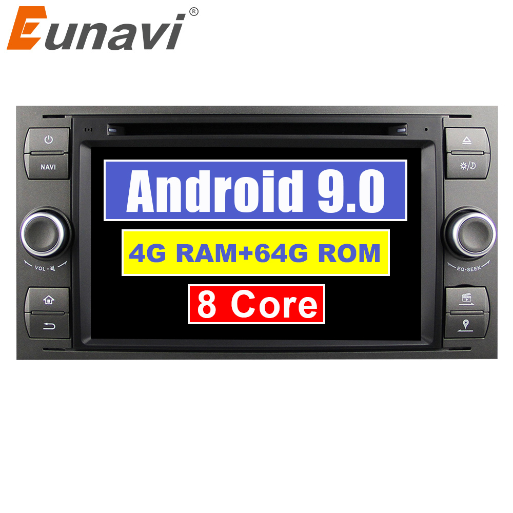 Автомобильный мультимедийный DVD Eunavi 2 Din Android 9 4G 64 ГБ для FORD S-Max Kuga Fusion Transit Fiesta Focus 2 II gps Автомагнитола 7 дюймов
