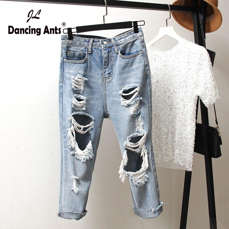 Woman Plus-Size Jeans High Waist Loose Calf-length Pants Trend 2020 Korean Style Solid Hole Streetwear Female Denim Harem Pants