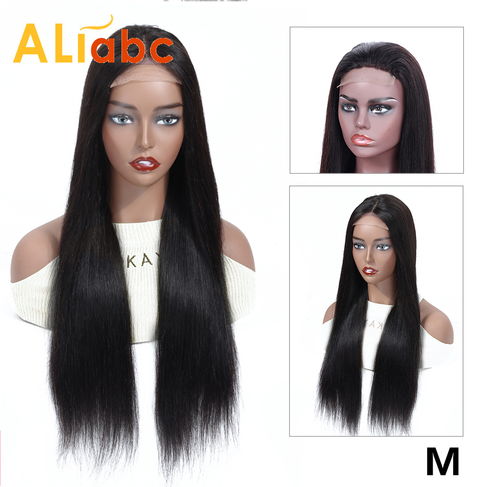 Aliabc 4*4 Lace Closure Wigs Brazilian Straight Human Hair Wigs For Women Non-Remy Lace Closure Wigs 150 Density Middle Ratio