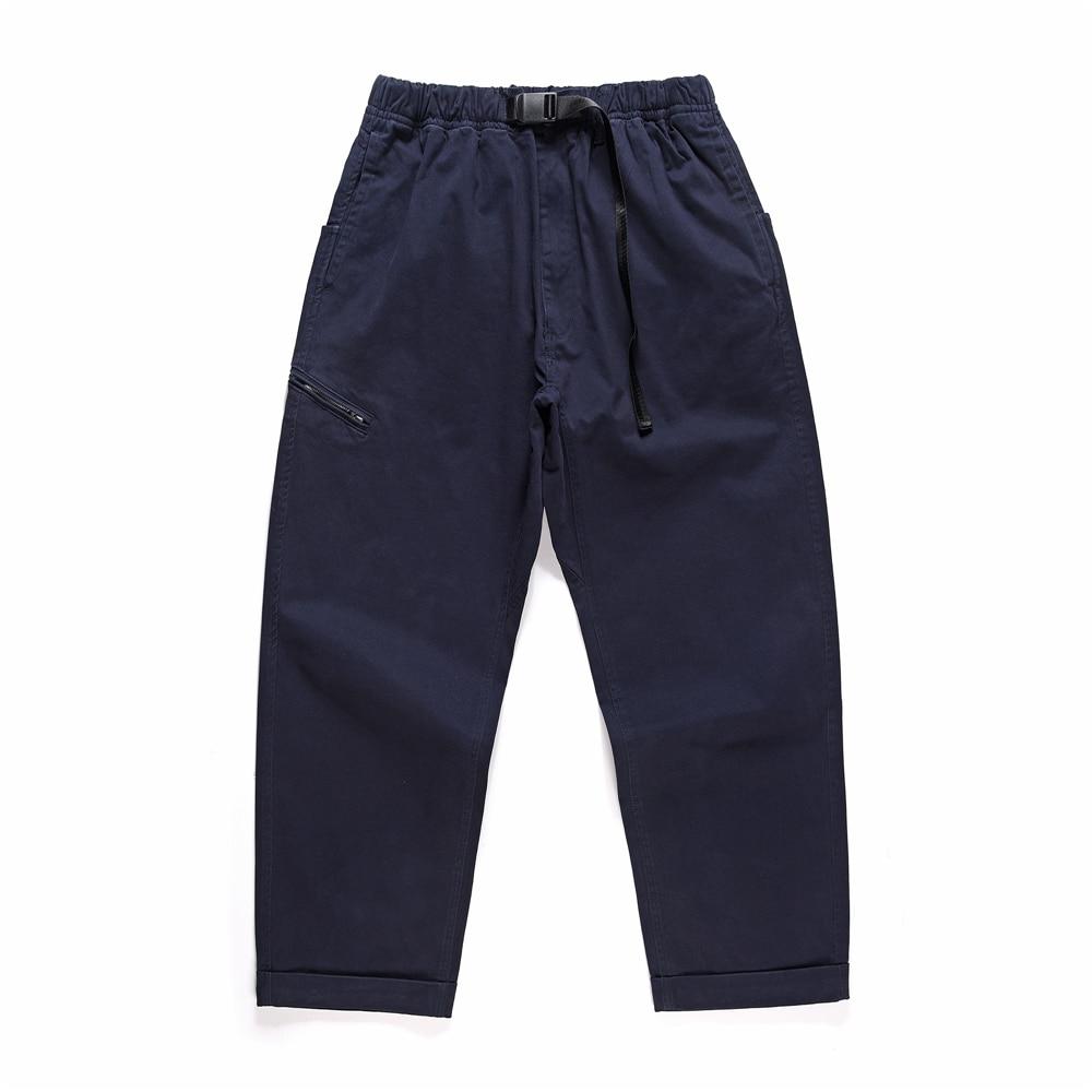 Loose Ankle-length Skater Trousers Khaki Navy Twill Cargo Pants Adjustable Waist Seven-pocket Styling Japanese Streetwear