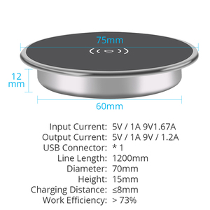 Image 5 - Fast Wireless Charger For iPhone11 Pro Max Xs XR X 8 Plus Phone Charger Furniture Office Desk Mounted Embedded Charging Pad