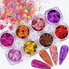 Pigment-Powder Nail-Art Decoration-Tip Sequins Glitter-Flakes Quadrilateral Chrome Shiny