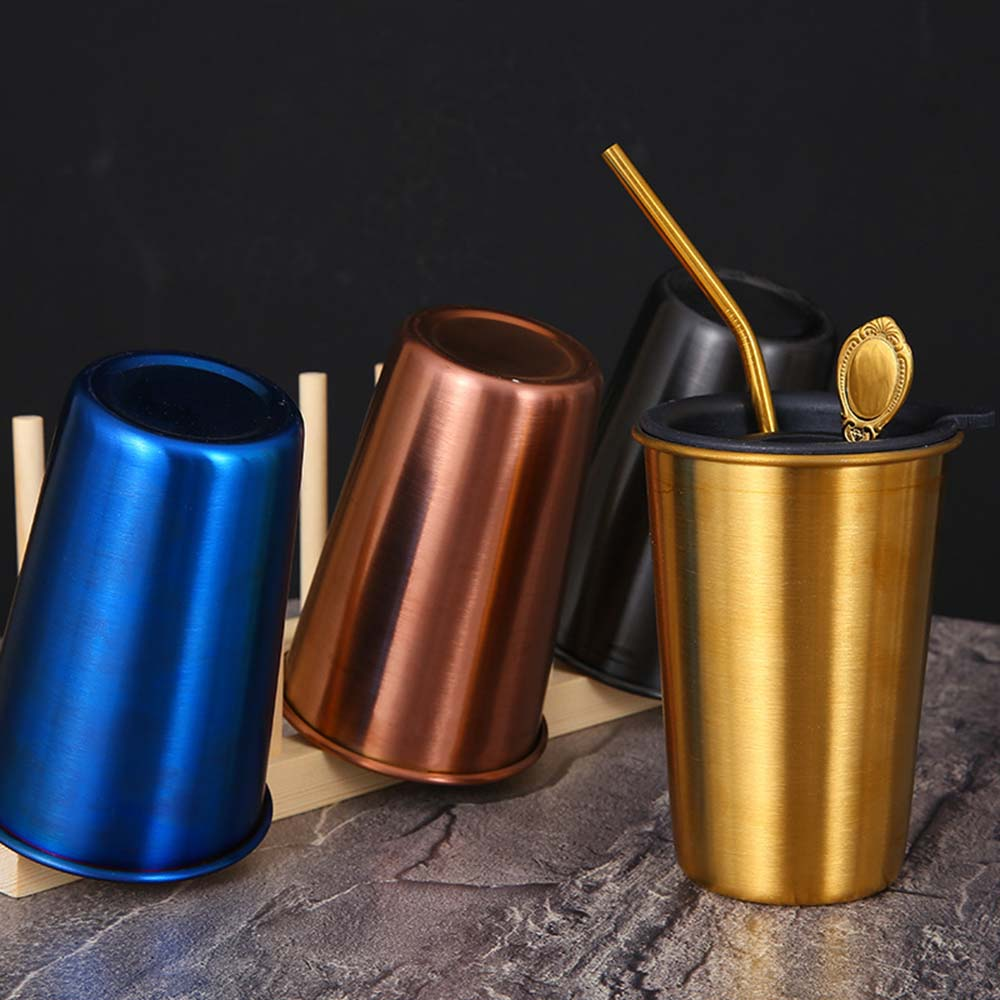 1 Set Stainless Steel Beer Mug Bar Cold Drink Coffee Cup Set Titanium-plated Milk Tea Sippy Cup Set Multi-color Optional