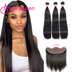 Angie Queen Straight Bundles With Frontal Brazilian Hair Weave 3 Bundles With Ear To Ear Lace Frontal 16 18 20 22 24 26 L
