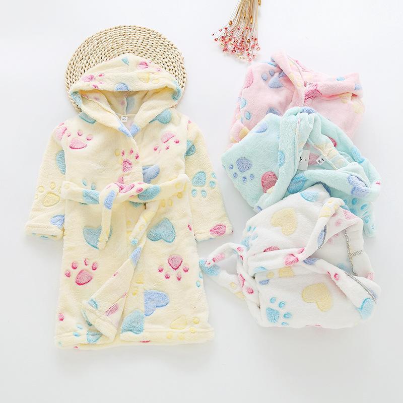 Childrenswear CHILDREN'S Bathrobes 2019 Girls BOY'S Flannel Gown Children Coral Velvet Tracksuit Fashion