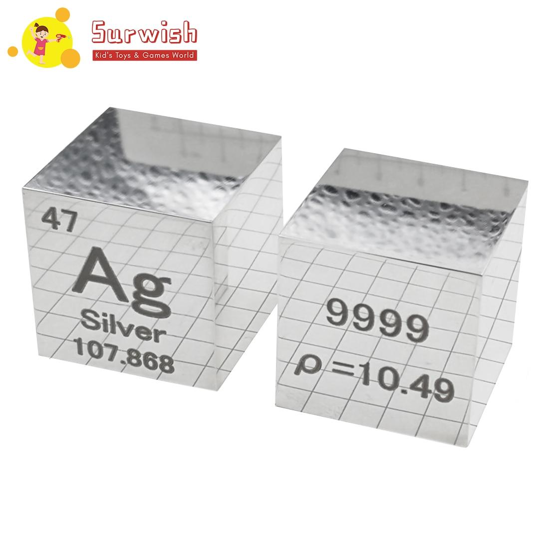 Creative 1 pièces 25.4X25.4X25.4mm miroir vernis Argentum Cube périodique Table des éléments Cube (Ag≥99. 5%) de haute qualité