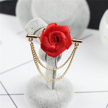Fashion Suit Suits Brooch Pins Brooches Men Wedding Rose Flower Chain Leaf Corsage Lapel Pin Brooches gifts for women(China)