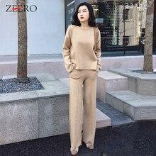 2019 outono outfits feminino malha agasalho 2 peça conjunto de moda o pescoço de manga comprida pulôver de lã + cintura elástica malha calça terno