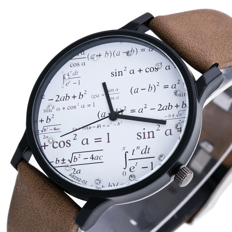 Fashion Couples Watches Mathematical Geometric Elements Dial Quartz Watch Leather Band Wristwatch For Student Teachers Gifts