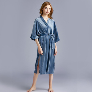 Image 4 - 2020 New Arrival Autumn Golden Velvet Womens Pajamas New  Spring Medium Length Sleepwear Bathrobes Sexy Robe Nightdress