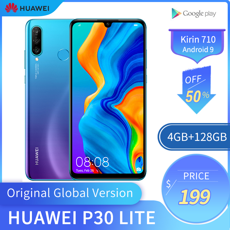 Original Global Version <font><b>Huawei</b></font> <font><b>P30</b></font> <font><b>Lite</b></font> 4GB 128GB Mobile Phone 6.15 inch <font><b>Smartphone</b></font> 32MP 4*Cameras With Google Pay Android 9.0 image