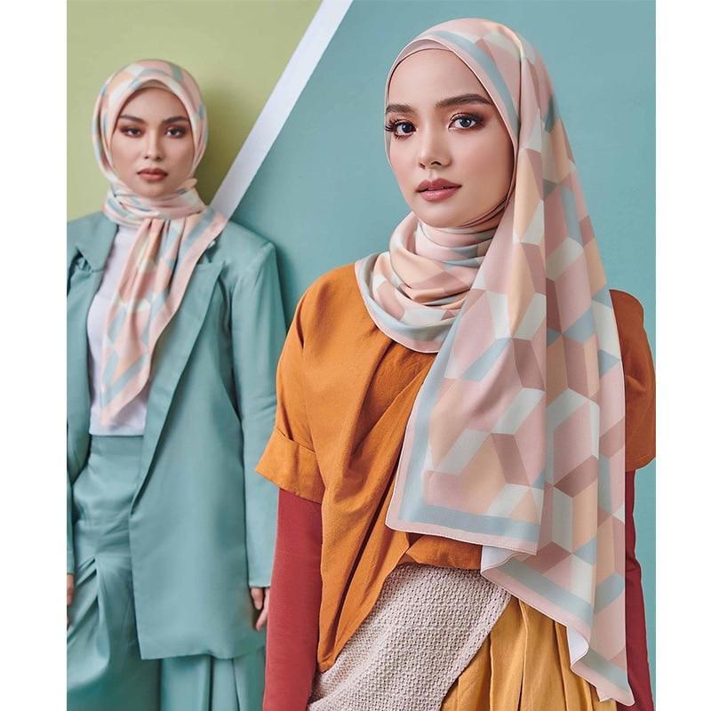 2021 New Arrival Women Printed Satin Polyestor Hijabs Shawls Trendy Colorful Long Headband Scarf FJ054