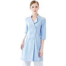 Высокая-конец медсестры носят униформу для медсестер в салоны красоты, синий тонкий пластиковый хирургических стационарах