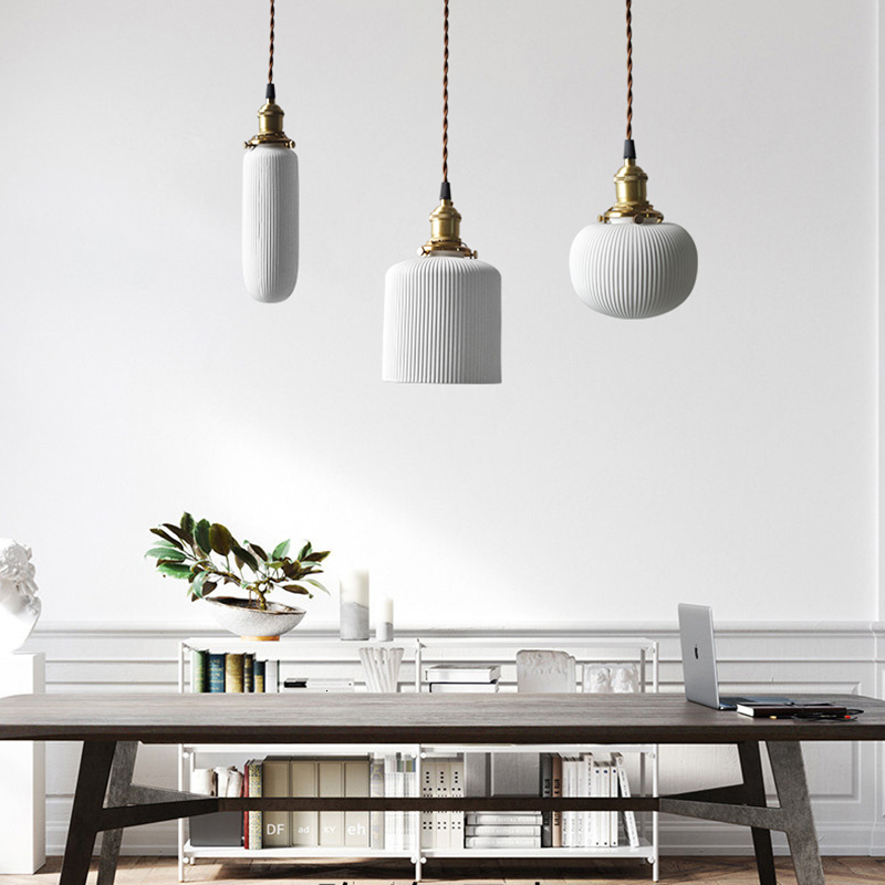 2019 Modern Simple Single Loft Vintage Handmade Minimalist Ceramic Chandeliers Pendant Lightings Kitchen Chandelier