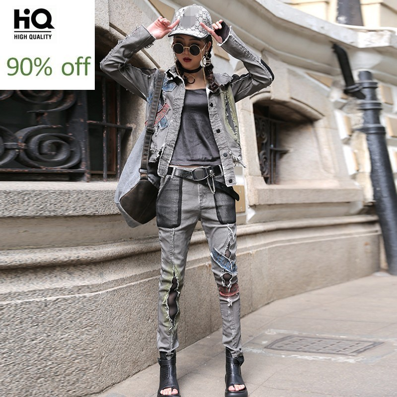 High Street Ropa Mujer 2020 Gray Patchwork Long Sleeve Short Jacket Hole Ripped Denim Trousers Women 2 Piece Set Hip Hop Clothes
