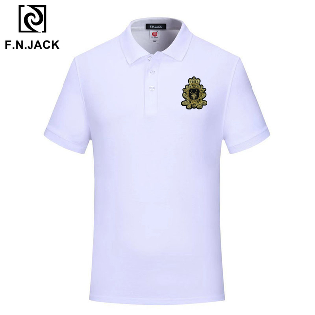 F.N.JACK  Mens Classic Polo Shirt Trending  Cotton Short Sleeve Tops For Man