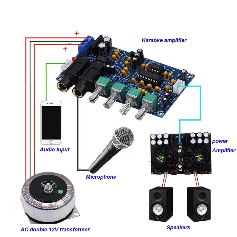 PT2399 двухполосный микрофон караоке машина преусилитель двойной NE5532 эхо КТВ Реверсивный караоке усилитель доска