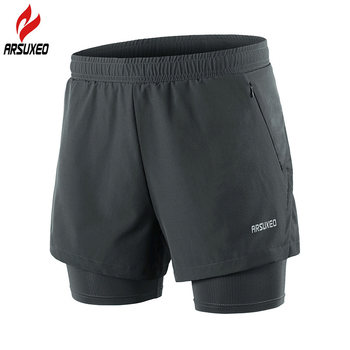 ARSUXEO Reflective Running Shorts Men Breathable 2 In 1 Gym Fitness Training Exercise Jogging Shorts with Liner Zipper Pocket arsuxeo 2019 men's running shorts 2 in 1 quick dry sports shorts active training exercise jogging shorts breathable b202