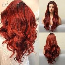 EASIHAIR rojo largo de onda pelucas con raíces oscuras pelucas de pelo sintético para las mujeres negras de la fibra de la parte media resistente al calor pelucas