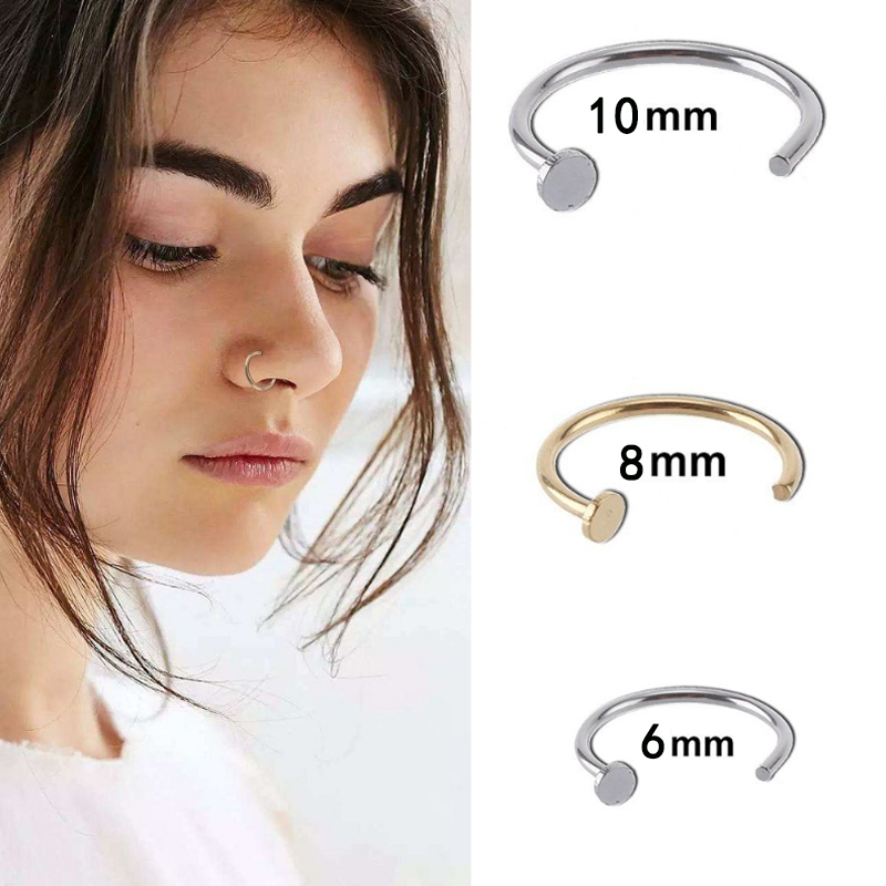 Ювелирное изделие для тела, открытый нос псевдо кольцо в нос псевдо зажим пикантные 6/8/10 мм 1 шт., небольшие серьги-кольца из простой пирсинг и...