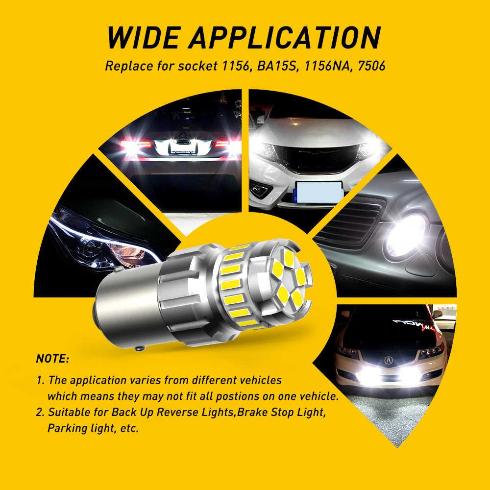 2Pcs BA15S LED T15 W16W P21W 1156 3157 7443 WY21W Lampu LED 1157 Bay15d P21 5 W Lampu Otomatis parkir DRL Rem Ekor Reverse Lampu