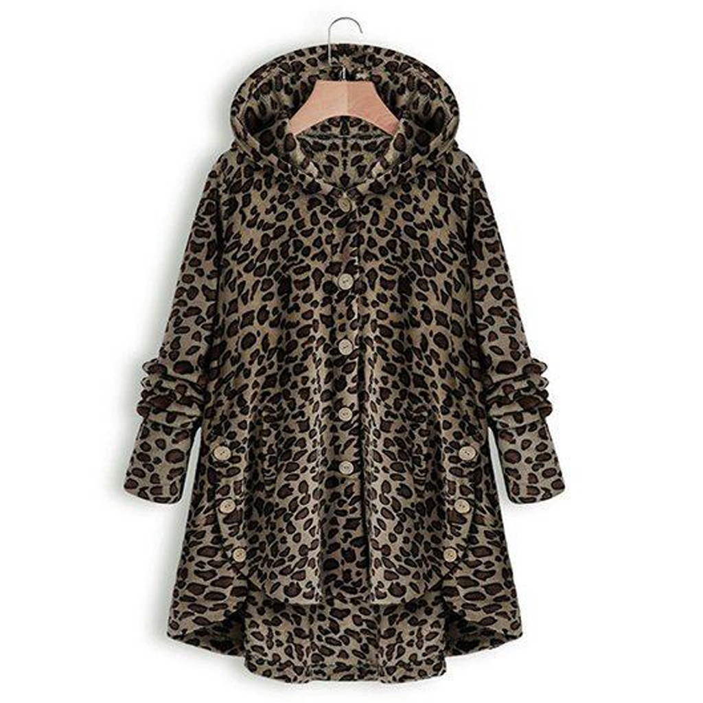 Women Button Leopard Coat Fleece Asymmetrical Hem Hooded Pullover Top SweaterDrop Shipping Supplier Boy Girl The Man Woman Sexy