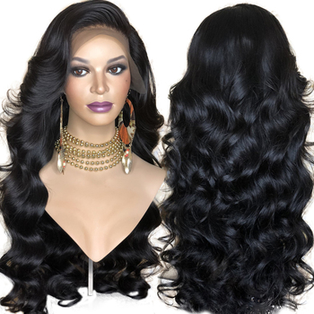FANXITON Synthetic Lace Front Wig For Women Black Body Wave Wig Glueless Heat Resistant Fiber Hair Wigs With Bangs Side Part 180% density heat resistant fiber syntehtilace lace front wig body wave black hair synthetic wigs for black women free shipping