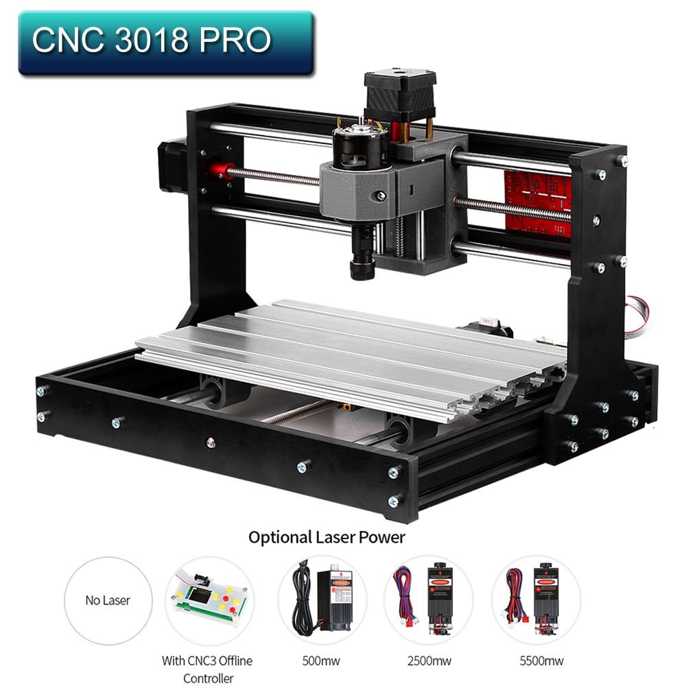 Machine de gravure Laser CNC 3018 Pro GRBL Machine de CNC de contrôle bois routeur Laser graveur avec contrôleur hors ligne + rallonge