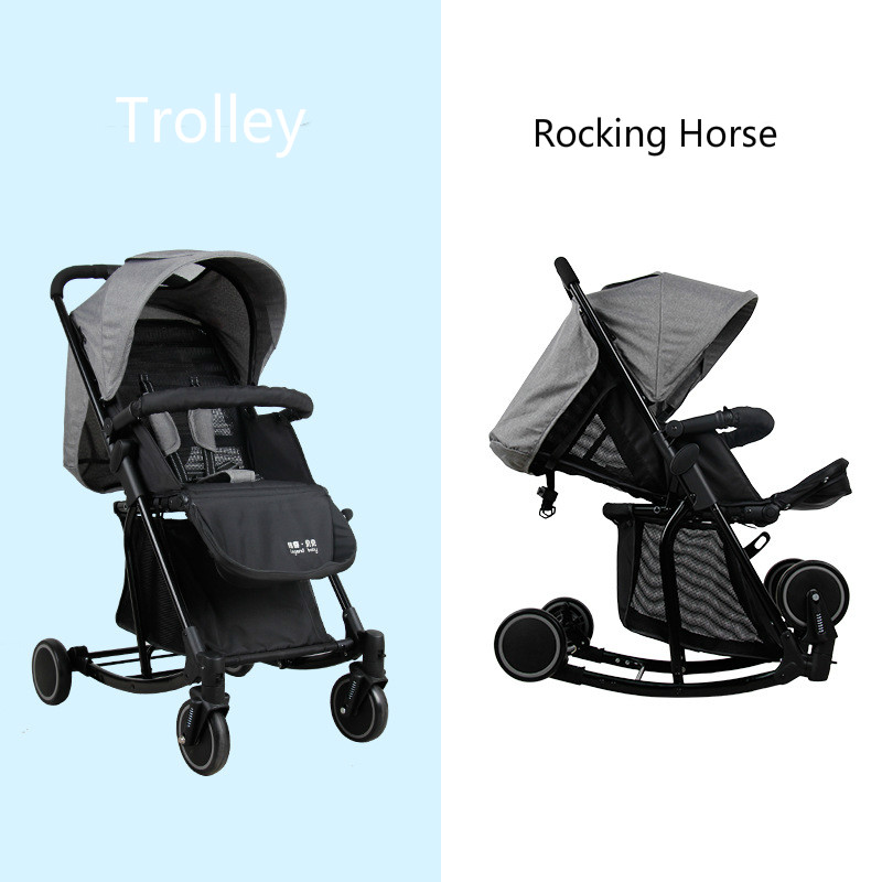 Multifunction Baby Stroller and Rocking Horse Portable Lightweight Newborn Carriage Infant Four Wheels Foldable Travel Pram