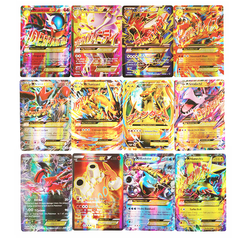 TAKARA 100 Pcs GX MEGA Trainer Shining Pokemon Cards Game Battle Carte Trading Cards Game Children Toy