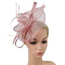 Женская шляпа-чародей имитация Sinamay Перо Чай Вечерние Pillbox цветок Дерби аксессуары для волос для девочек повязка на голову