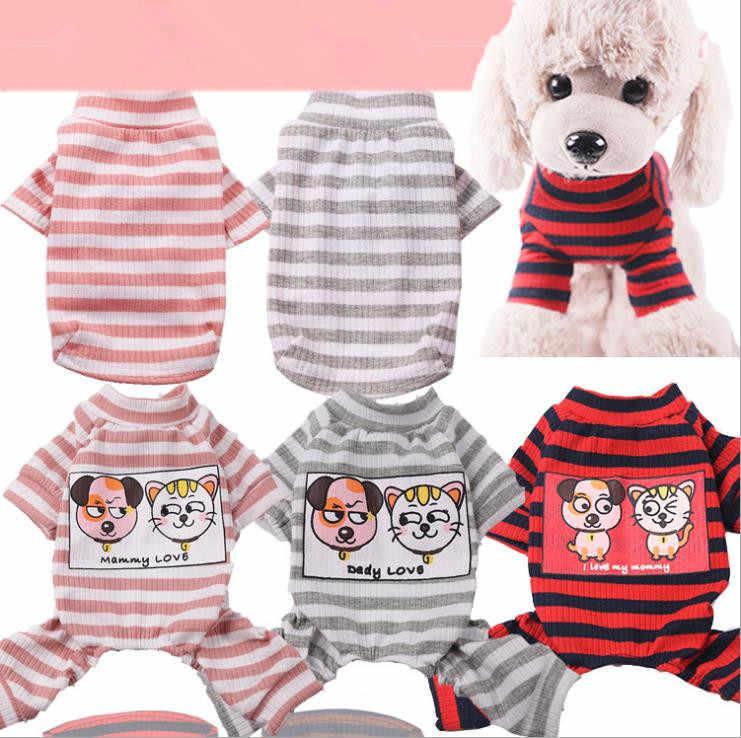 Yeni Pet köpek giysileri kış sıcak çizgili örgü kazak ceket için küçük köpekler kedi çift köpek giysileri pijama eşofman