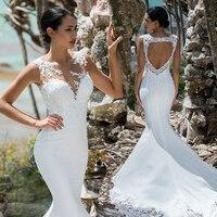 Eightale Bohemian wedding Dresses Mermaid O Neck Lace Appliques Chiffon Boho Wedding Gown Beach Bride Dress Vestido De Noiva