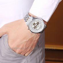 100 шт./лот ROSRA часы мужские три глаза бизнес роскошные часы мужские Заводские Цена часы высокого класса Relogio Masculino